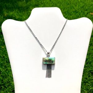 Gorgeous Abalone 925 Silver Tassel Necklace NWT